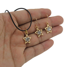 2017 Newest Fashion Women's Jewelry Gold Tone Rhinestone Star Dangle Earring Pendant 17″ Necklace For Friendship Gift ZH03