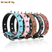 Real Leather Studded Spikes Collars