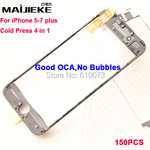 150pcs MAIJIEKE AAA+ Cold press 3 in 1 Front Glass+frame+oca For iPhone 7 6 6s plus 5 5s Outer Glass with Frame with oca Parts