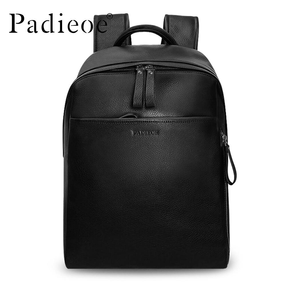 Padieoe Genuine Leather Man Backpack Real Cowhide Men Large Backpack Double Zipper Travel Rucksack Unisex Black Daypack Backbag