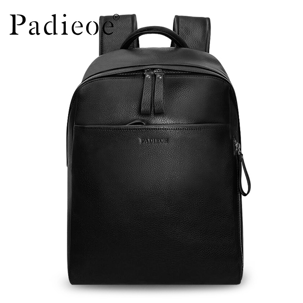 Padieoe <font><b>Genuine</b></font> Cow <font><b>Leather</b></font> Man <font><b>Backpack</b></font> Luxury Women Double Zipper Travel <font><b>Backpack</b></font> <font><b>Unisex</b></font> Black Daypack School <font><b>Backpack</b></font> image