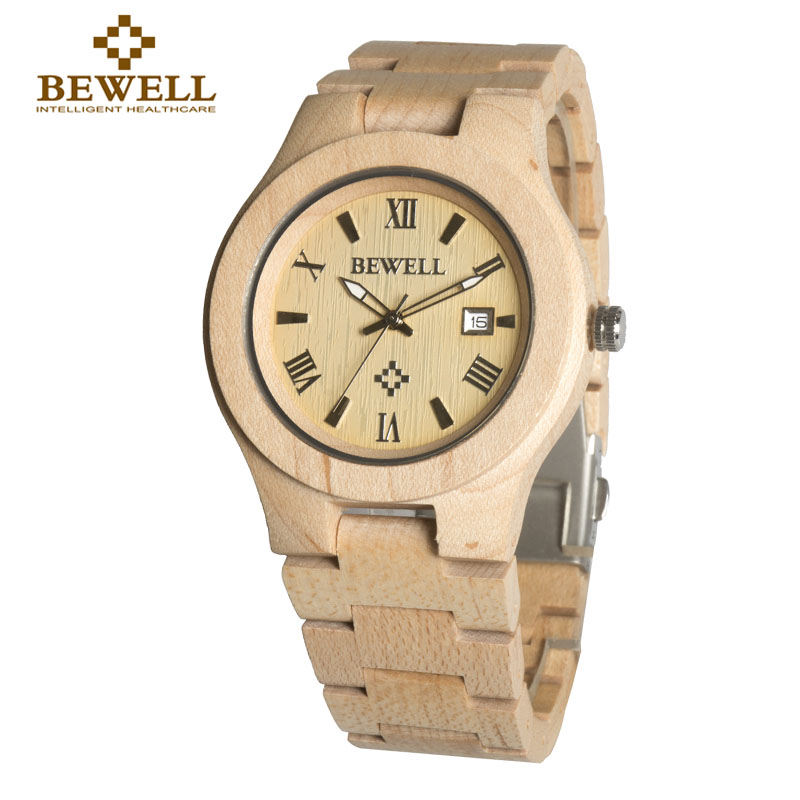 BEWELL Men Watch Maple Watch Men's Top Brand Design Wooden Calendar Quartz Watch Men's Lover Best Gift Boxed Fashion 127A bewell wooden quartz watch men women