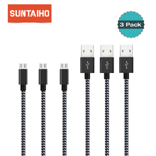 3pcs/lot Nylon Braid Micro USB Cable,Suntaiho Fast Charging cable 1m/2m/3m for Samsung Xiaomi Meizu HTC LG Mobile Phone Cables