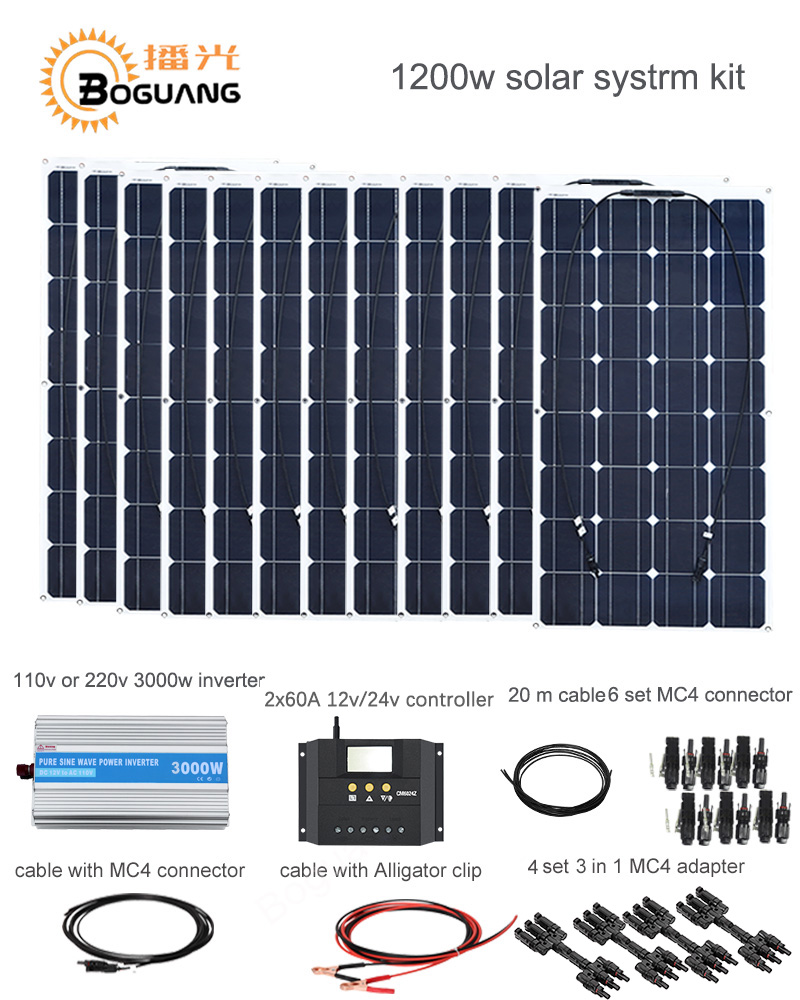 Boguang 1200W Photo voltaic System Equipment 100W Photo voltaic Panel Module Cell 120A Controller 3000W Inverter Cable Mc4 Connector 12V Energy Cost