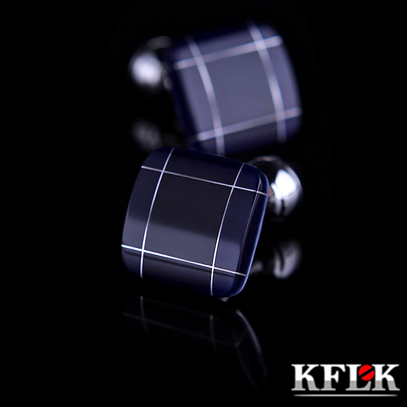 KFLK jewelry fashion shirt cufflinks for mens gift Brand cuff links buttons Blue High Quality abotoaduras gemelos Free Shipping lq104s1dg2c lcd displays
