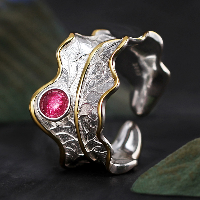 Lotus Fun Real 925 Sterling Silver Ring Natural Tourmaline Gemstones Fine Jewelry Adjustable Peony Leaf Rings for Women Bijoux 9