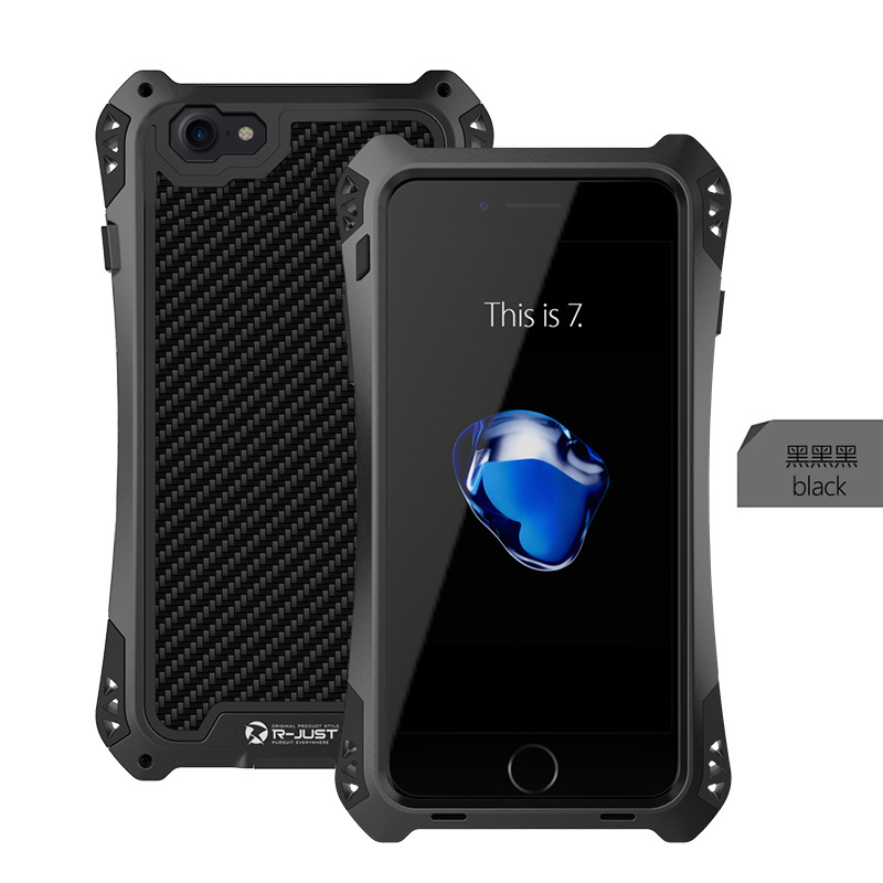 imágenes para S8 Plus100 % Nuevo R-JUST AMIRA A Prueba de Golpes Caso de la Cubierta de Fibra de Carbono de Aluminio para el iphone 7/7 Plus 6 6 S 6 PLUS Samsung Galaxy S8 S8 +