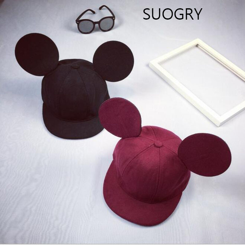 Cute !! New 2016 Big Ears Snapback Hat For Adult Hat Hip Hop Baseball Cap For Women Cap Men Hat Baby Drop Shipping  2016 summer womens cartoon cute big mouse ears eyes snapback hats mesh cap hip hop baseball caps female topee sun hat for women