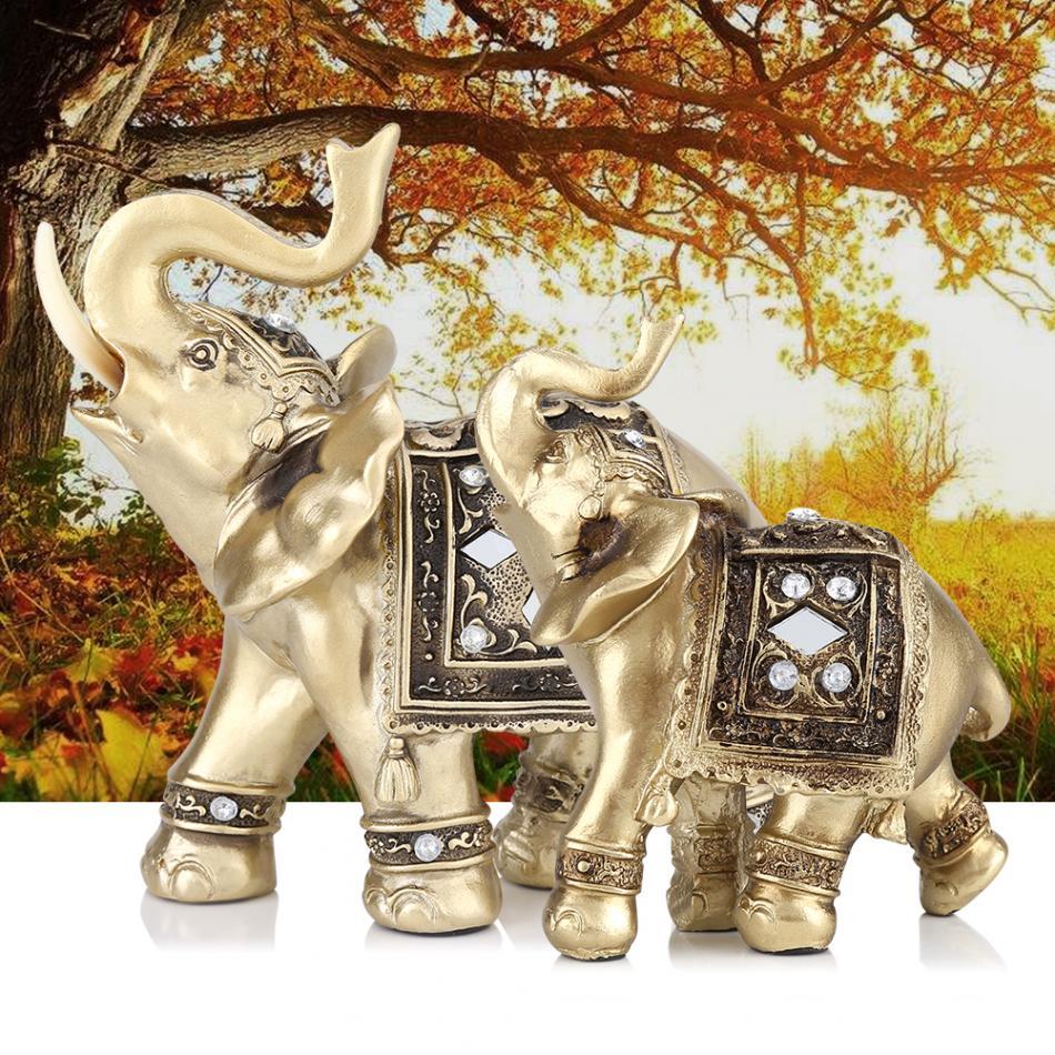 feng shui elephant statue gold color resin decorative figurines elephant with diamond souvenir. Black Bedroom Furniture Sets. Home Design Ideas
