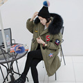 Large raccoon fur collar plus size code lovely fabric affix long military green warm thickening female coat outwear parka MZ1111