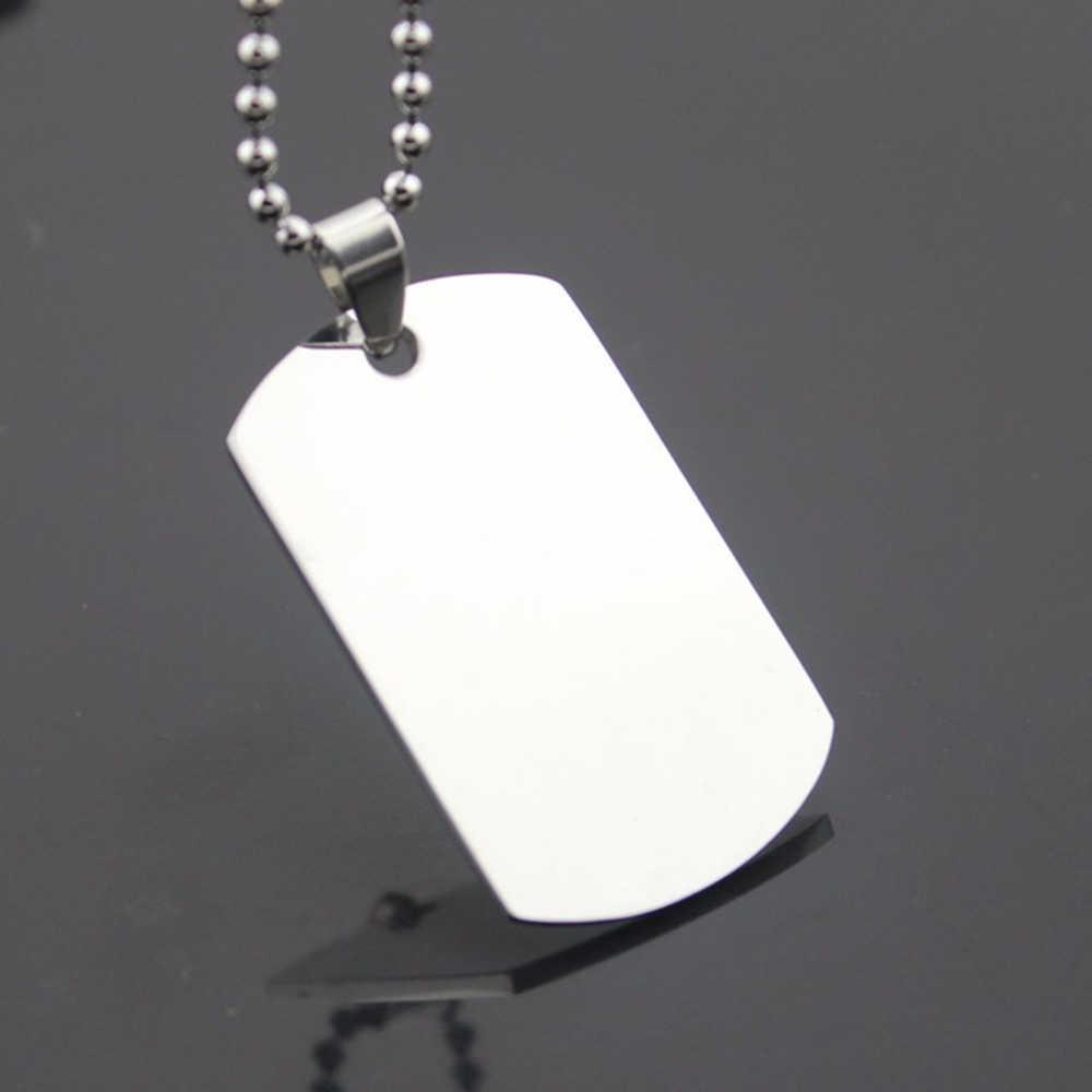 Moda męska ze stali nierdzewnej naszyjnik wysokiej jakości kolor srebrny identyfikator dla psa naszyjniki metalowe koraliki skórzany łańcuch DIY biżuteria