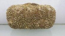 Versandkostenfrei!! A15-18, goldfarbe mode top kristallsteinen ringkupplungen taschen für damen schöne party tasche