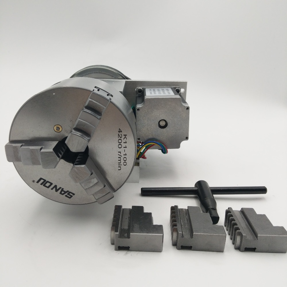 CNC 4th Axis K11 3 Jaw Chuck CNC Rotary Axis 100mm 4th A axis Ratio 6:1 Hollow Shaft for CNC Router New 1 Year Warranty new original 4th axis cnc k11 3 jaw chuck cnc rotary axis 100mm 4th a axis ratio 6 1 for cnc machine lathe