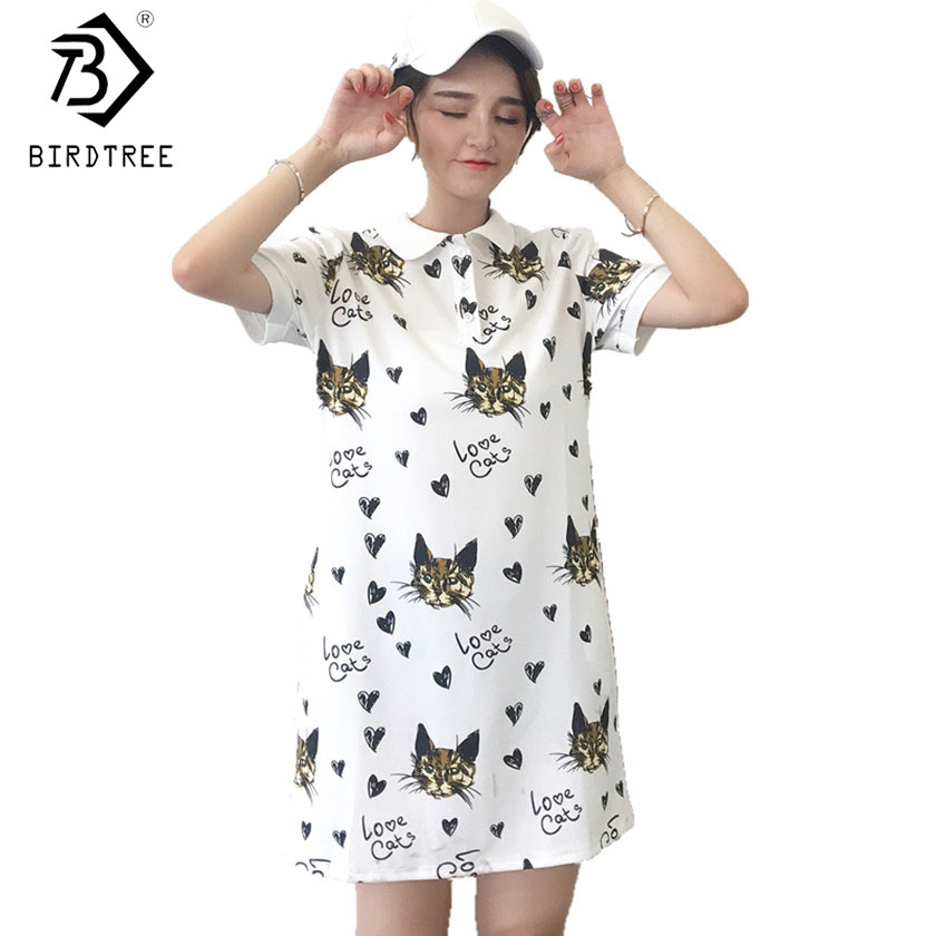 Vestidos Femininos 2017 Summer New Cute Cat Loving Heart Print Button Turn Down Collar Cotton