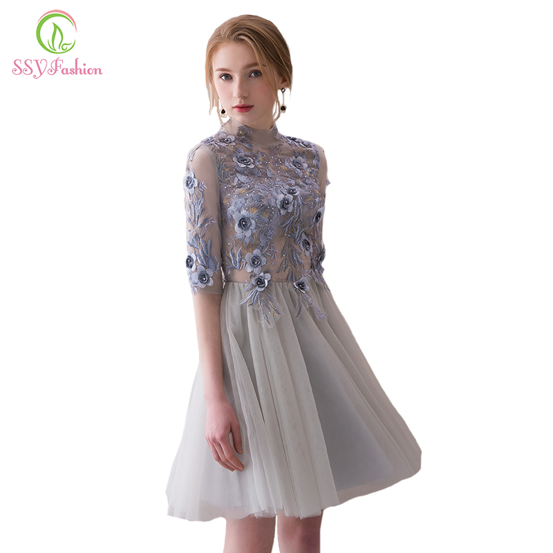 SSYFashion New Elegant Short   Cocktail     Dresses   High-neck Grey Half Sleeves Lace Appliques Evening Party Gown Robe De Soiree