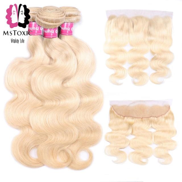 Paquetes de onda de cuerpo Rubio Mstoxic con cierre Frontal paquetes de cabello humano brasileño 613 rubio con cierre Frontal cabello no Remy