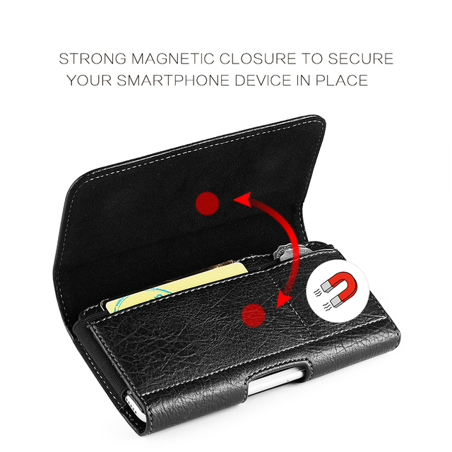 Universal Pouch Wallet Case 6.3/5.5/4.7 inch Waist Bag Magnetic Horizontal Phone Cover for iPhone X 8 7 Phone Belt Holster Clip 2