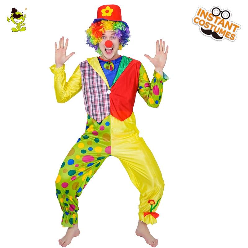 Mens Funny Clown Costume Adult Funny Circus Clown Costume Halloween Costumes Naughty Harlequin Uniform