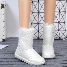 Liren 2019 Winter Fashion Casual PU Lined Women Mid-calf Snow Boots Flats Camouflage Comfortable for Warm