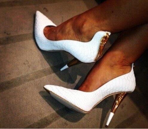 Newest 2016 Brand Name White Leather Ankle Strap High Heel Platform Sandals Designer Women Gold Metal Heel Formal Dress Shoes