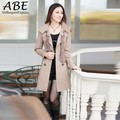 3 Color 3 Size free shipping new Women's Casual Double-Breasted Long Trench Coat Outwear with Scarf