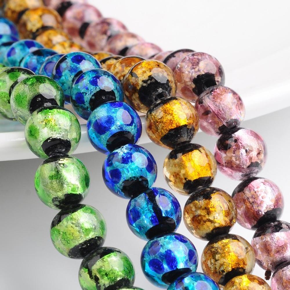 Pandahall Beads: Pandahall Handmade Silver Foil Glass Round Beads, Mixed