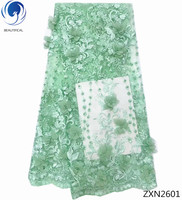 BEAUTIFICAL 3d lace applique 3d laces african fabrics 3d beaded lace fabric for wedding dresses high quality light green ZXN26