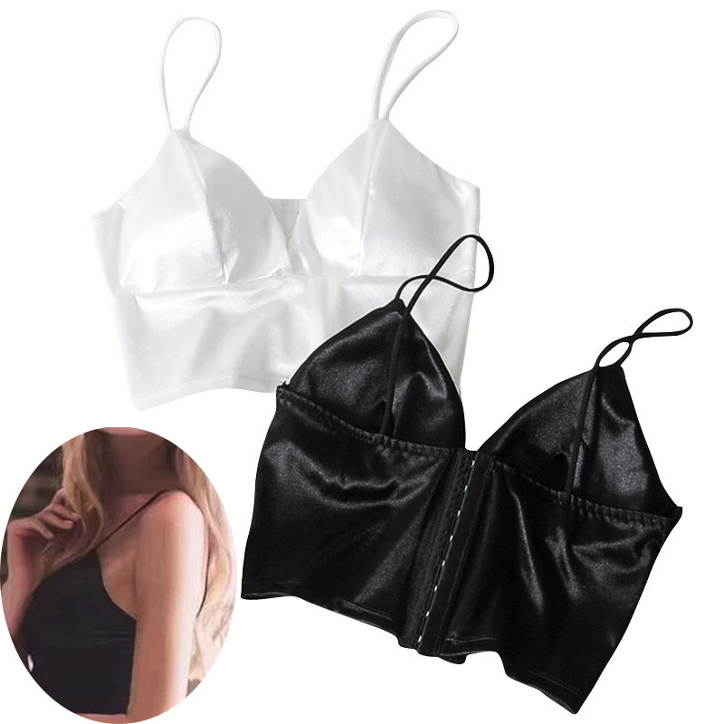 Sexy Women Sexy Strap Silk smooth Plunge Bralette Bra Sleeping brassiere Push Up Bras sexy lingerie Top wireless bra top(China)