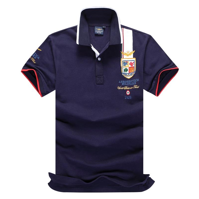Mens Summer 2018 Breathable Air Force One   Polo   Embroidery Lapel   Polo   Shirt Fashion Man Aeronautica Militare   Polos