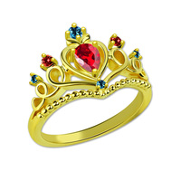 AILIN Personalized Beautiful Tiara Birthstone Ring Gold Color Fairytale Crown Ring Women Jewelry