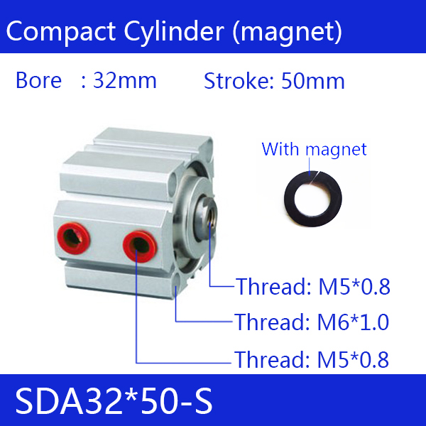 SDA32*50-S Free shipping 32mm Bore 50mm Stroke Compact Air Cylinders SDA32X50-S Dual Action Air Pneumatic Cylinder стоимость