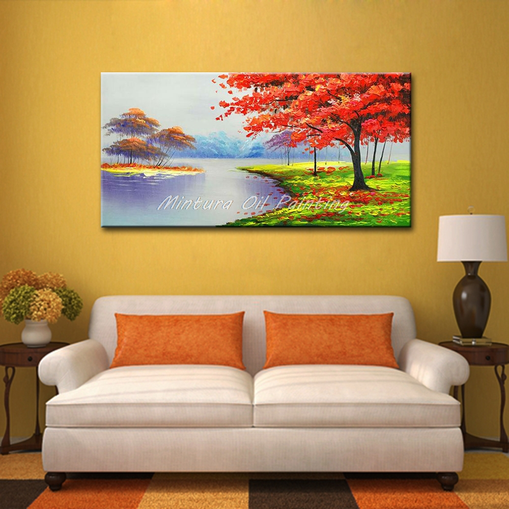 Large Hand Painting Modern Abstract Landscape Lakes And Mountains ...