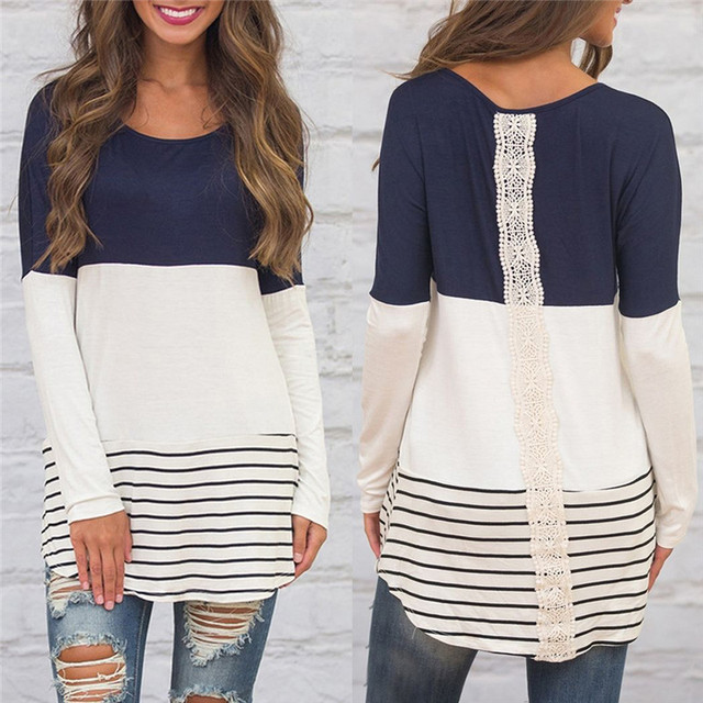Back Lace Blouse Striped Long Sleeve Blouse Tunic Shirt