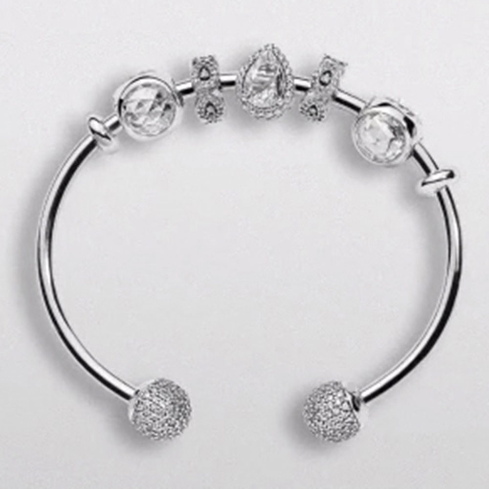 NEW925 Sterling Silver Heart Charm Bracelet for Women DIY Popular Glass Beads Woman Fashion Jewelry Classic Design Top QualityNEW925 Sterling Silver Heart Charm Bracelet for Women DIY Popular Glass Beads Woman Fashion Jewelry Classic Design Top Quality