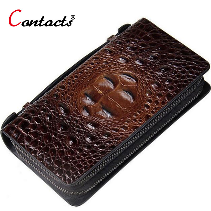 CONTACT'S Genuine Leather Men Wallets Vintage Men Clutch Bags Long wallet Card Holder Famous Brand Phone Wallet For Credit Cards sammons brand new design fashion genuine cow real leather men long zipper clutches cards phone holder wallet