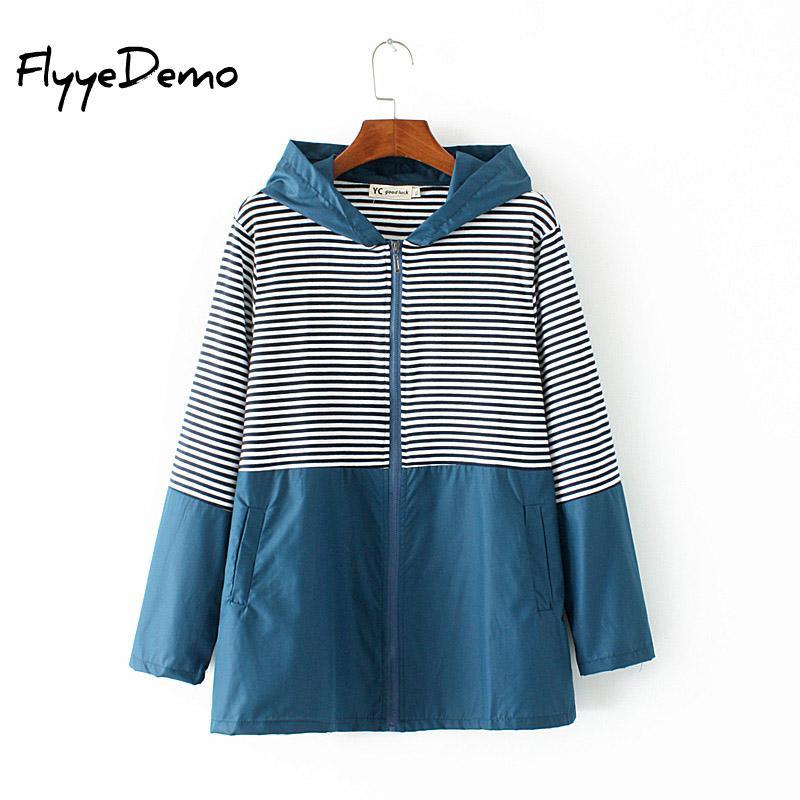 4XL Plus Size Women Basic Jacket New Fashion Hoodied Outwear High Quality Windbreaker Female Cotton Linen Striped Jacket 2019