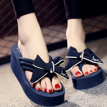 6CM Heel Height Wedges Women Flip Flops Outside Fashion Butterfly-knot Handmade Beach Shoes Slippers