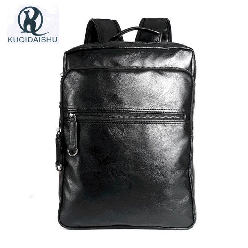 남자를위한 새로운 PU 가죽 배낭 비즈니스 빈티지 학교 가방 캐주얼 배낭 여행 가방 학생 Escolar Bagpack Plecak