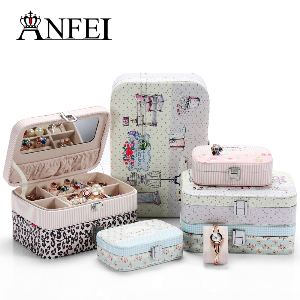 ANFEI New Jewelry Display Boix 7 Differents Style With High Quality Leather Material Ring/Pendant /Jewelry Box As A Gift