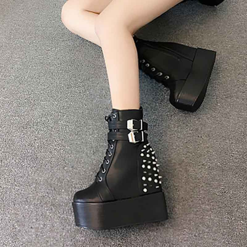 2017 autumn and winter new slope with 14cm within the increase shoes Nightclub lovers high-heeled boots