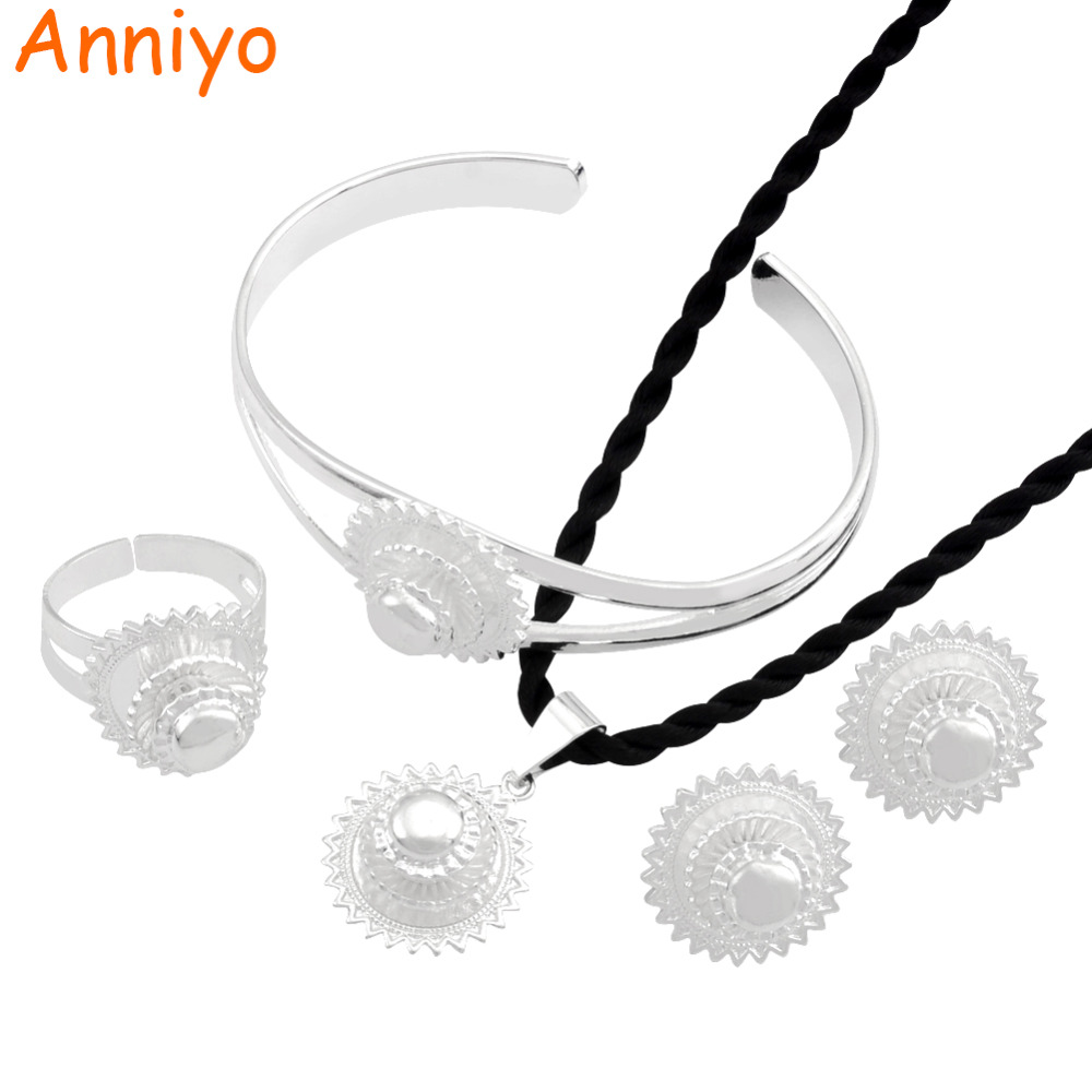 Anniyo Silver Color Ethiopian Jewelry Set Eritrea Habesha Necklace Bangle Earring Ring African Wedding #055906 anniyo good quality habesha ethiopian gold color necklace earrings ring hair chain jewelry sets african wedding gifts 047611