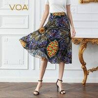 VOA 100% Silk Skirts Women Summer Midi Swing Skirt Casual Print faldas A Line jupe femme saia Mid Waist jupe longue rokken C610