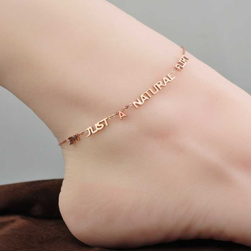 YUN RUO Fashion Rose Gold Anklet Elegant Letter Chain Charm Woman Girl Gift 316 L Stainless Steel Jewelry Top Quality Not Fade
