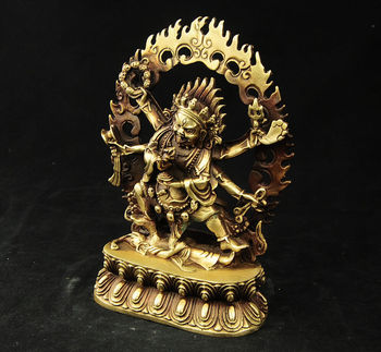 tibet buddhism brass 6 arms Mahakala Vajra King Kong Exorcism god buddha statue
