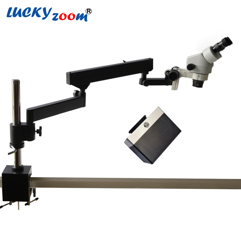 Luckyzoom 7X-45X Continuous Zoom Binocular Microscope Articulating Arm Pillar Clamp Stand W/ 5MP Microscope Camera Free Shipping  lucky zoom brand strong darticulating arm pillar clamp stand for stereo microscopes microscope accessories free shipping