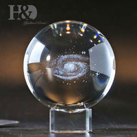 H&D 3 Inch/80MM Galaxy Ball Crystal Display Globe Full Sphere Glass Paperweight Fengshui with Clear Stand (Gift Box Package)