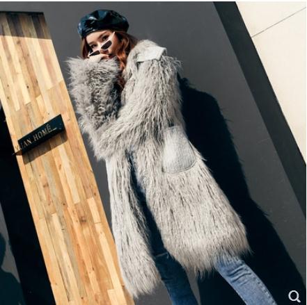 Grey Fourrure Femmes Vêtu Pour Lâche Tops Longue Outwears Xl Poches pink Femme Section Chaud Élégant Manteaux J2622 Faux Jolie De Laine S ppRwqtBS