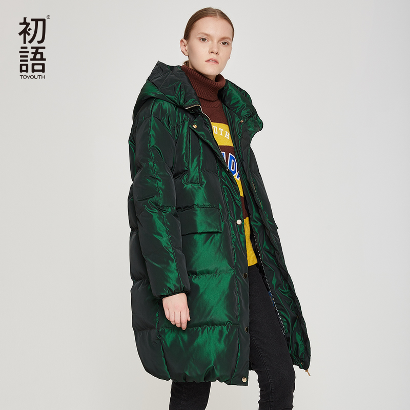 Toyouth Duck Down Women Winter Coat Hooded Abrigo Mujer Outwear Long Coat  Puffer Black Warm Jacket Thickening Coats Plus Size