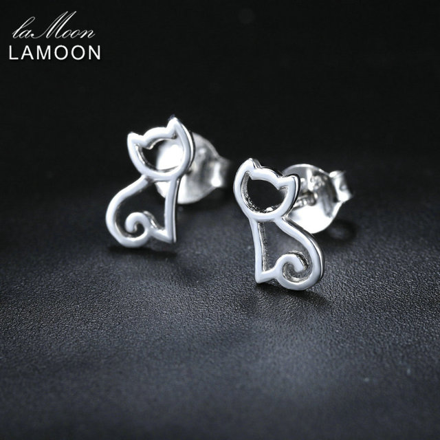 LAMOON 2018 New Hollow Cat 925-Sterling-Silver Stud Earrings Silver Color S925 Fine Jewelry for Women Girl Gift LMEY230