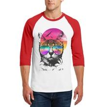 New Arrival Mens T-Shirt Cool Cat Printed Three Quarter Sleeves O-Neck Cotton Tee Shirt Hipster Popular Man T Shirts